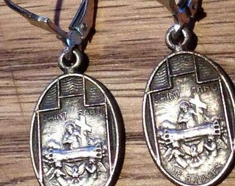 Two Vintage Holy Blood of Bruges Religious Medal Earrings