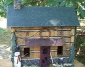 Primitive Lighted Winter Snowman Log Cabin Folk Art ~Stained w/ worn green accents ~ Comes w/ light and cord ~  Very unique