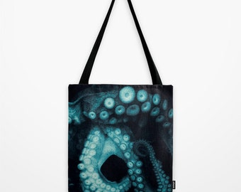 Tote Bag, Octopus Tote Bag, Octopus Market Shopping Bag, Book Bag, Teal Octopus Market tote bag, Black Teal Tentacles Book Tote Bag