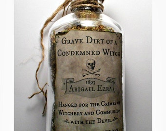 Grave Dirt of a Hanged Witch - OOAK Handmade Filled Bottle