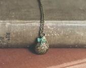 flora and fauna teardrop locket necklace.