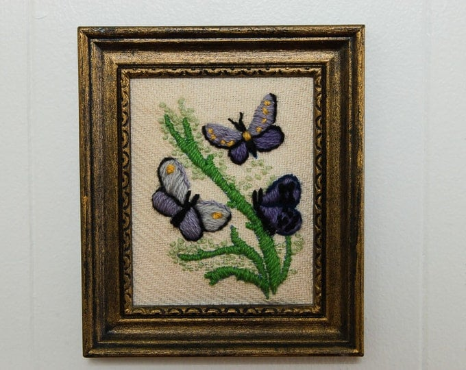 Purple Butterfly Framed Needlepoint Springtime Flowers Buds Green Lavender | 5.5x6.5 | Vintage Kitsch Cross-Stich Embroidery Frame Wall Art