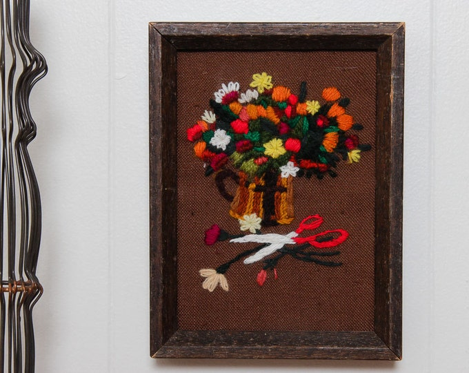 Flower Pot Framed Needlepoint | Orange Red and Yellow Gardener Trimming Scissor | 8x6 | Vintage Kitsch Cross-Stich Embroidery Frame Wall Art