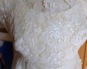 Vintage wedding dress lace empire bodice hippie chic dress