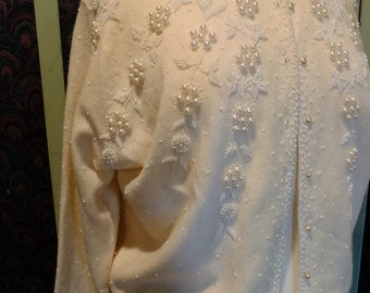 Wedding dress beaded sweater pearls seed beads wedding dress perfect 1950s vintage