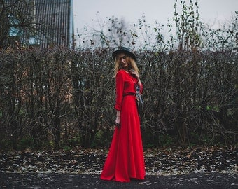 Dress, GYPSY SOUL Bohemian Red dress, long, flowy, romantic, feminine