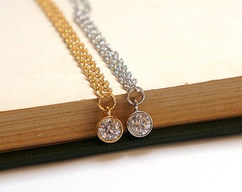 Drop of Sparkle - CZ Cubic Zirconia Gold / Silver Drop Necklace - Simple Everyday Jewelry - Bridal Jewelry- Bridesmaids Gift Under 20