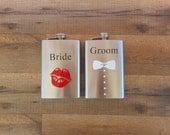 Bride and Groom Whiskey Flasks Metal Flask Bride Flask Groom Flask Bridal Party Drinkware #DownInTheBoondocks