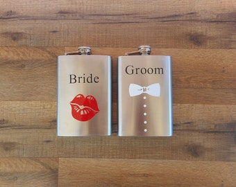 Bride and Groom Whiskey Flasks Metal Flask Bride Flask Groom Flask Bridal Party Drinkware #DownInTheBoondocks