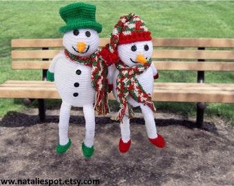 INSTANT DOWNLOAD Couple Snowmen Christmas Ornament - Crochet Pattern