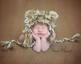 Baby Lion Cub Hat-Perfect Newborn Photo Prop or Halloween costume