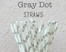 FINAL CLEARANCE SALE - Gray Paper Straws - Set of 25 Gray Polka Dot Drinking Straws - Birthday Wedding