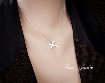 Sideway cross necklace - sterling silver, simple delicate necklace, small short layer necklace, birthday gift for mom sister girlfriend