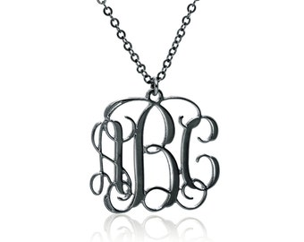 Monogram Necklace 1.3 inch- Black Silver oxidized Personalized Necklace Monogrammed Necklace bridesmaids gift