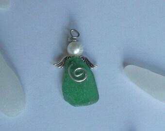 Green sea glass angel. Angel charm. Christmas angel decoration. Beach Christmas