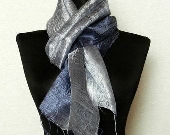"""2 Tone Thai Raw Pure Silk Scarf  12x62"""" Long Scarf Neck Scarf Handdyed in Blue Grey V24"""