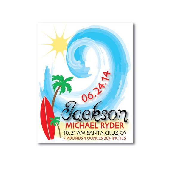 Surfboard nursery personalized baby gift surf by for Surf nursery ideas