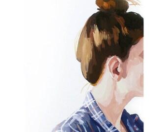 "5x7"" hair art - ""Top Knot 42"" giclee print"