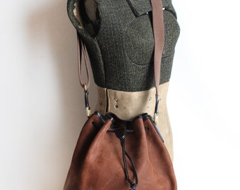 Women's Vintage Brown Suede and Leather Drawstring Purse