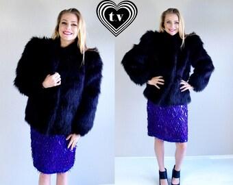 vtg 80s black SHAGGY Faux Monkey Fur COAT Small/Medium avant garde outerwear jacket chubby vegan