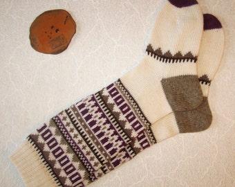 Lilac grey CUSTOM MADE Scandinavian pattern rustic fall autumn winter knit knee-high wool socks present gift