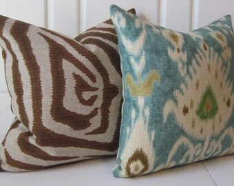 Laura Ashley Tilbury Lapis Ikat and Designer Animal Print Pillow Covers