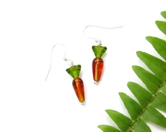 Glass Carrot Earrings, Easter Spring Jewelry, Beaded Orange, Farm Garden, Miniature Vegetable Food Earrings, Rabbit Lover Gardener Cook Gift
