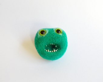 Green Monster Brooch -Made To Order Mint Green Monster, Zombie Needle Felted Pheeple Face Character Pin