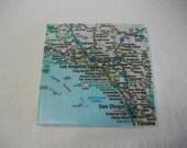 Southern California Map 6 Inch Wine Coaster Trivet