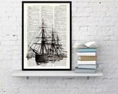 Art print  Old ship II antique illustration printed on Dictionary sheet - Ship art Print- seaside art, wall decor nautical art print BPSL092