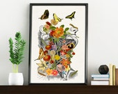 Springtime on me, white art Print- A4 Wall art. Human anatomy  print - Chic Science prints wall art flowers art SKA087WA4