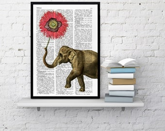 Spring Sale Elephant with Poppy Flower Nursery elephant art Love Dictionary art. Elephant wall art,decor, Gift her, giclee BPAN103