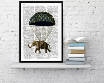 Summer Sale Nursery elephant print, Wall art print: Elephant with parachute original collage art home decor Wall hanging ANI090