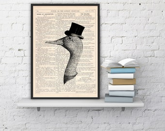 Spring Sale Gentleman goose Vintage Book Print Dictionary or Encyclopedia Page Print Perfect  gift art BPAN156