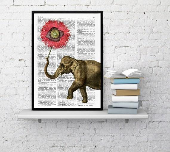 Elephant with Poppy Flower Nursery elephant art Love Dictionary art. Elephant wall art,decor, Gift her, giclee BPAN103