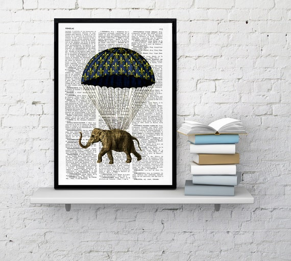Spring Sale Nursery elephant print, Wall art print: Elephant with parachute original collage art home decor Wall hanging BPAN090