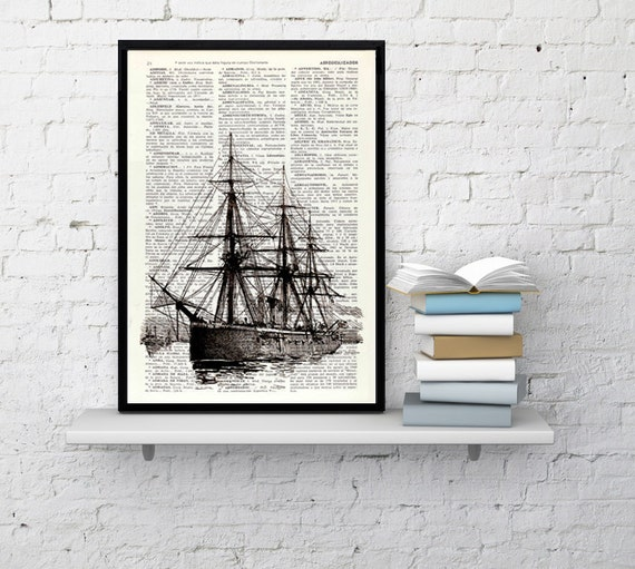 Summer Sale Old ship II antique illustration printed on Dictionary sheet - Ship art Print- seaside art, wall decor nautical art SEA092