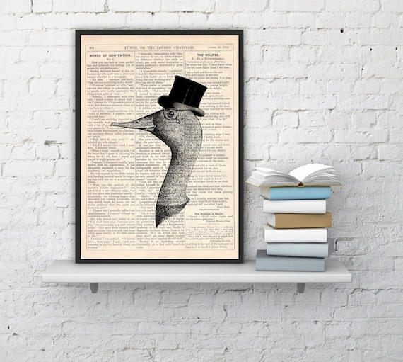 Gentleman goose Vintage Book Print Dictionary or Encyclopedia Page Print Perfect  gift art BPAN156