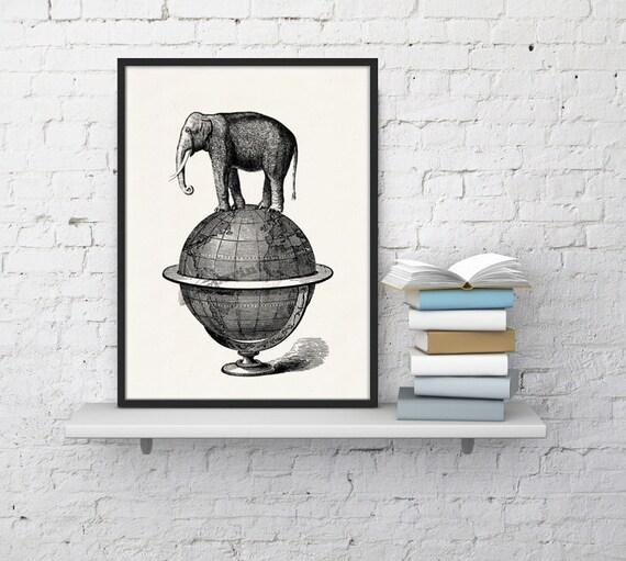 Elephant goes for a walk. White paper elephant  print  - Elephant over world collage ANI093WA4