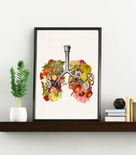 Spring Sale Flowery Lungs  art Print- A4 Wall art art- Doctors gift Human anatomy  print- Science prints wall art flowers art WSK87