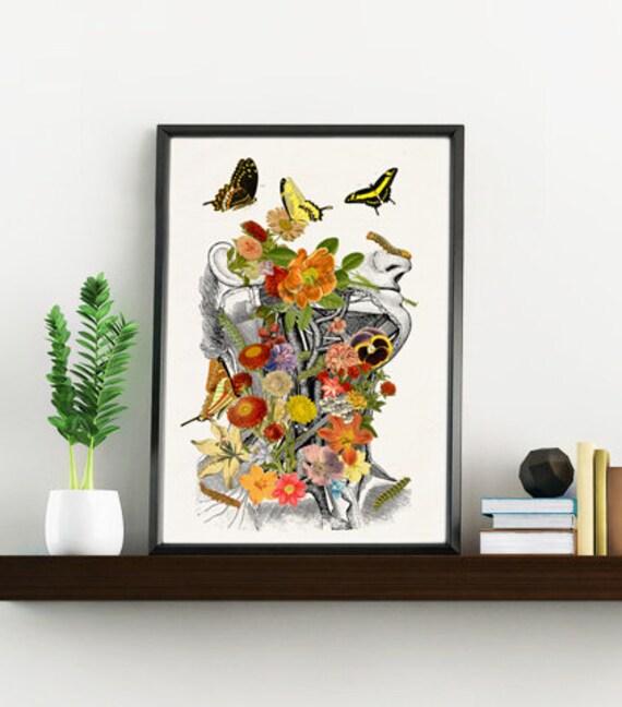 Springtime on me, white art Print- A4 Wall art. Human anatomy  print - Chic Science prints wall art flowers art SKA087WA4