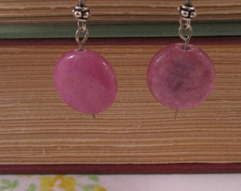 Purple Disc Dangle Earrings