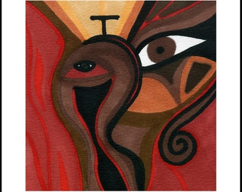 The Wish On The Other Side Of Heat signed 10x10 abstract red horse archival canvas print - from original woodstain painting, Loree Harrell