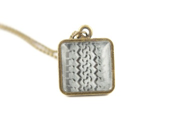 Gift for Her, Square Tire Track Necklace, Layering Necklaces, Photography Jewelry, Unique Gifts, Brass Pendant on a Ball Chain