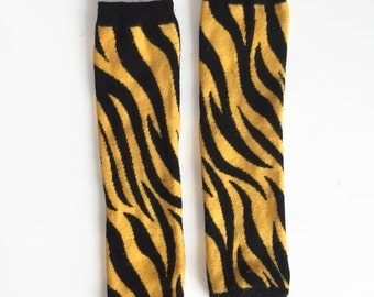 Snack Size Leg Candy Mizzou Tiger Stripes Black and Yellow Gold - Hand Dyed Leg Warmers