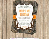 Camo Boy Hunting #2 Birthday Party  PRINTABLE Invitation 5x7  camouflage orange realtree