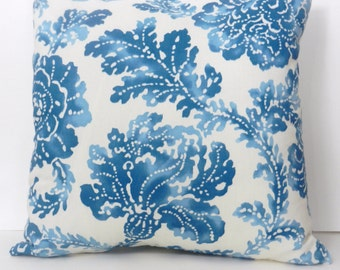 Floral Throw Pillow Cover Blue, Cream Screenprint Home Dec Fabric, 16 x 16 inch with invisible zipper closure, Bedroom, Sofa, Nursery