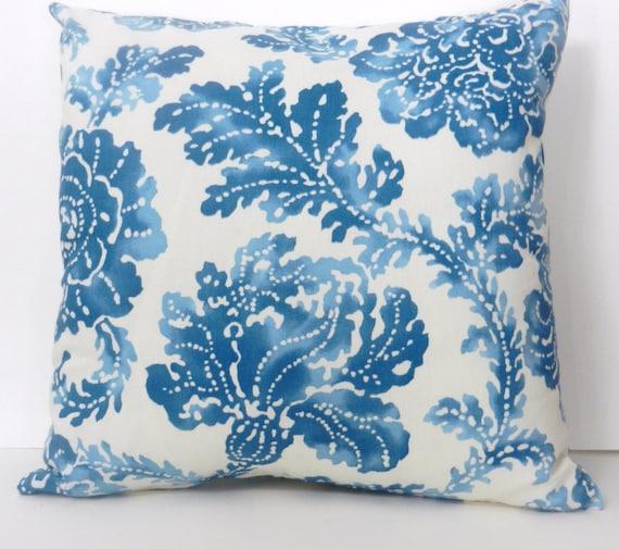 Floral Throw Pillow Cover Blue Cream Screenprint Home Dec