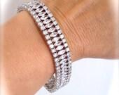 Vintage Marquise Estate Jewelry Bracelet Formal Multi Stone White Stone Bracelet Dressy Cluster Wide Tennis Bracelet