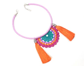 Necklace-Bohemian Handmade Crochet Tassel Necklace,Tribal Ethnic Fringe Statement Jewelry,Pink Green Orange Purple,Fiber Art